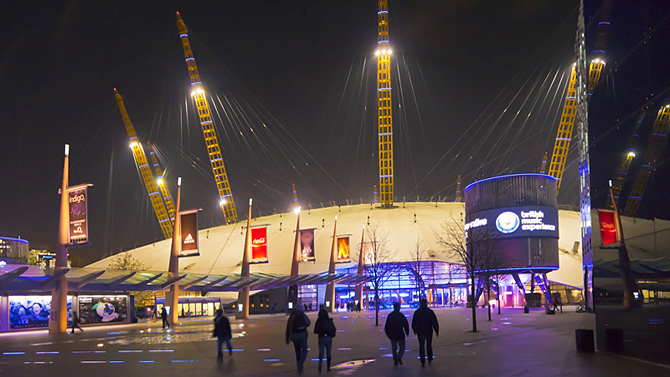The O2 dome venue by night, North Greenwich, London, UK
