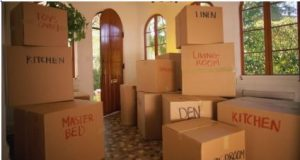 Unpacking after moving to a new house.