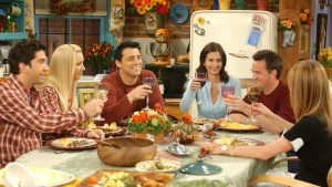 FRIENDS Thanksgiving episode shot.
