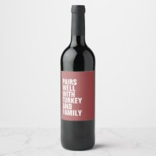 Funny Thanksgiivng Wine Labels