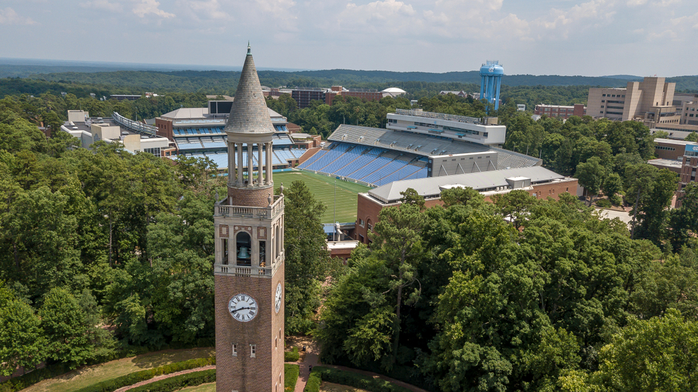 An aerial view of Chapel Hill and The University of North Carolina campus