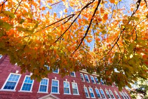 College campus during fall season.