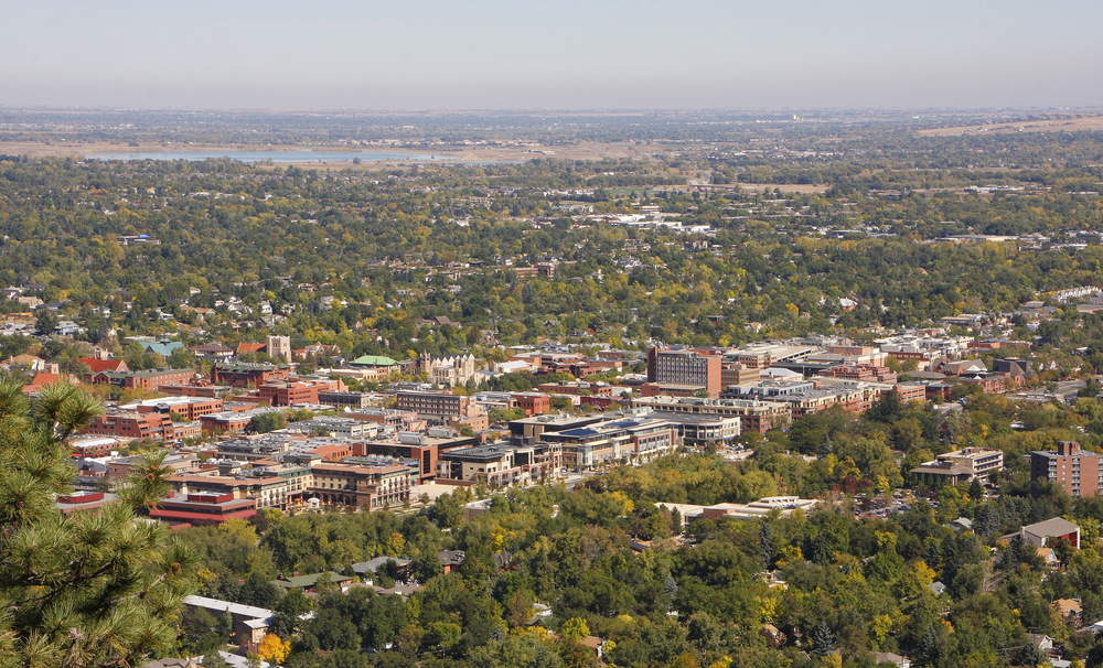 An aerial view of Boulder, Colorado, one of the best cities for college students.