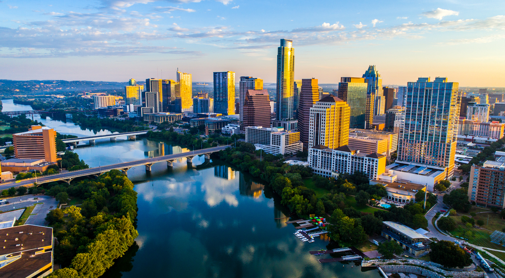 A shot of downtown Austin and Lady Bird Lake at sunrise
