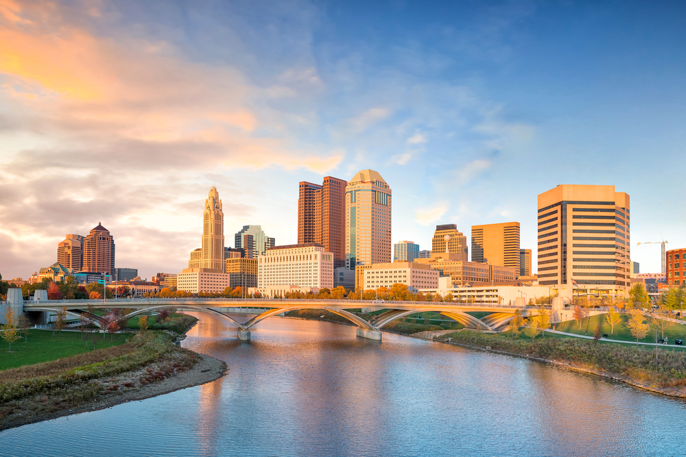 A view of beautiful downtown Columbus, Ohio, and the Scioto River.