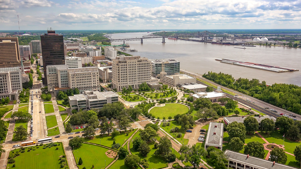 An aerial view of downtown Baton Rouge, Louisiana, and the Mississippi River
